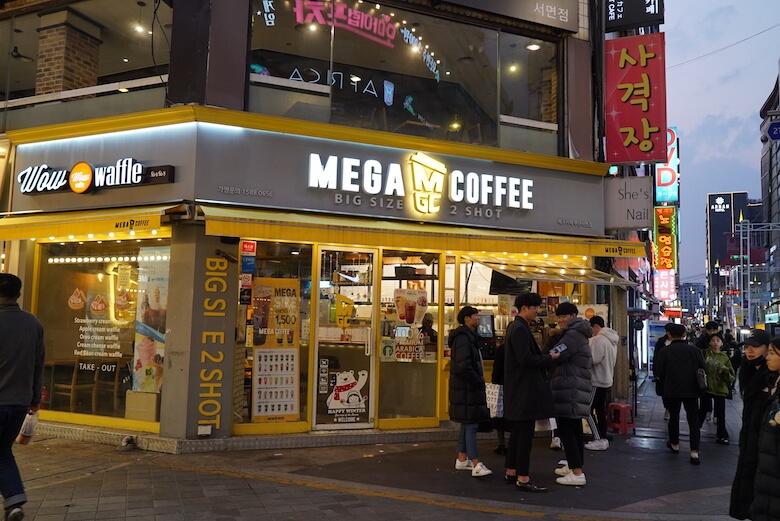 韓国富山のおすすめカフェチェーン,MeGA COFFEE